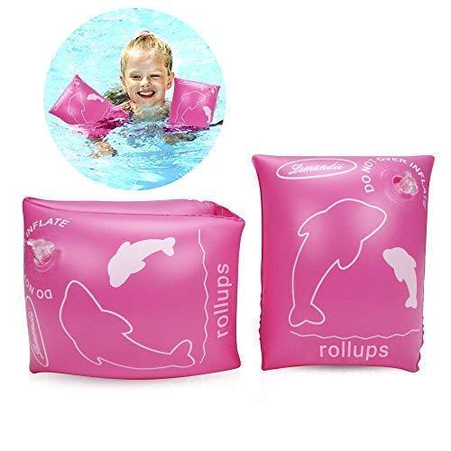 ALIXIN-Floater aufblasbare schwimmende aufblasbare Armbänder Ringe,Floater Ärmel Schwimmen Ringe Schlauch Armbinden für Kinder Kleinkinder und Erwachsene.(Mehr als Vier Jahre alt, unter 80 kg, Rosa)