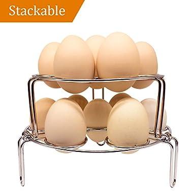 NeoJoy Steamer Rack for Instant Pot, Stackable Egg Vegetable Pressure Cooker Steam Rack, Stainless Steel Food Basket Stand, 2 piece