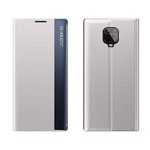 FANFO® Funda Clear View Cover para Xiaomi Redmi Note 9S/9 Pro/9 Pro MAX Elegante Standing Flip Caso, Plata