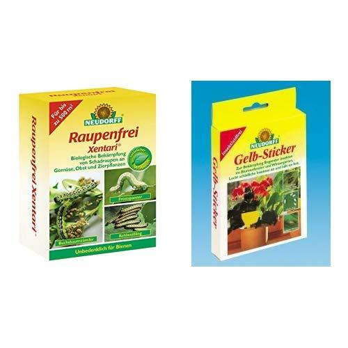 Neudorff Raupenfrei Xentari 25g gegen Buchsbaumzünsler an Buchsbäumen & 33433 Gelb-Sticker 10 Stück
