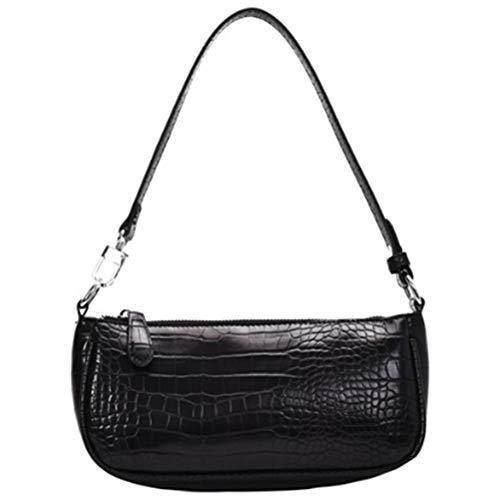 Vintage Krokodil Muster Schultertasche für Frauen, Retro PU Mode Leder Taschen Damen Kleine Messenger Handtasche (Schwarz)