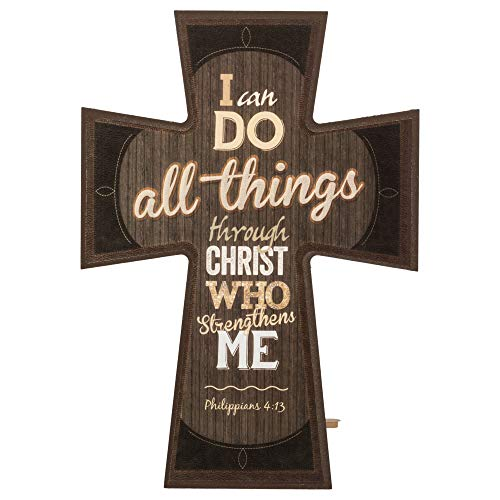 P. Graham Dunn I Can Do All Things Through Christ 8 x 6 Inch Wood Decorative Tabletop Wall Cross Sign