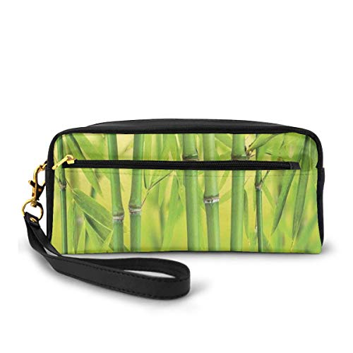 Pencil Case Pen Bag Pouch Stationary,Close Up of Bamboo Sprouts Stems Nature in Tropical Rain Forest Wildlife Asian Feng Shui,Small Makeup Bag Coin Purse