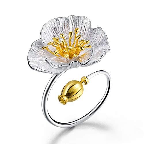 Lotus Fun S925 Sterling Silber Ring Blühende Mohnblume Ringe Natürlicher Handgemachter Einzigartiger Schmuck für Frauen und Mädchen