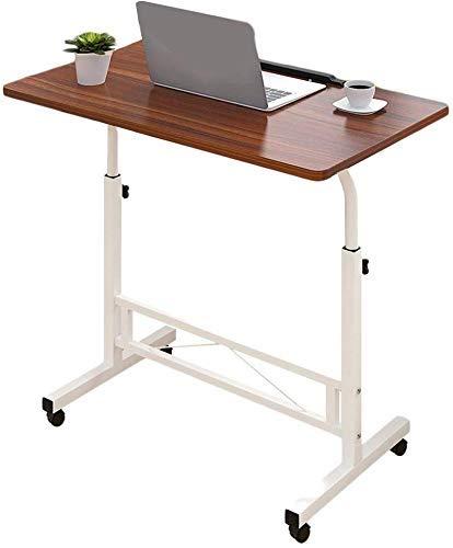 Escritorio Portátil para Computadora Portátil Mesa De Escritorio para Computadora, Altura Y Ãngulo Ajustables con Ruedas, Portátil, 4 Colores, 80X40Cm (Color: Wood)