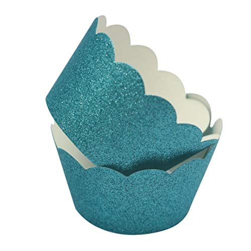 Mybbshower Teal Glitter Scalloped Paper Cupcake Liners for Wedding Birthday Bachelorette Table Decoration Pack of 24