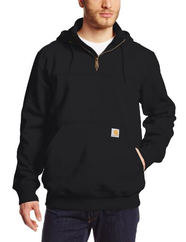 Carhartt Men's Rain Defender Paxton Heavyweight Hooded Sweatshirt, Black, Large