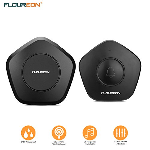 FLOUREON Wireless Video Doorbell Chime Kit Push Button Operating at Up 1000 Feet, 36 Melodies,Quality Sound. LED Indicator, Multiple Chimes, 4 Level Volume Adjustable for Home, Office, Apartment