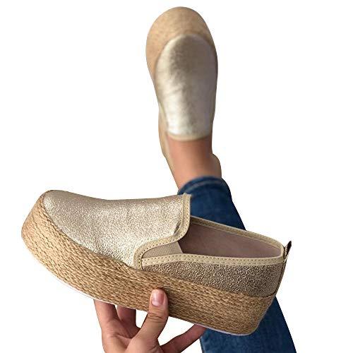 Loozykit Damen Plateau Sneaker Bequeme Espadrilles Plateau Espandrillos mit Keilabsatz Atmungsaktive Low Top Slippers Freizeitschuhe Elegant Flache Schuhe Loafer 35-43