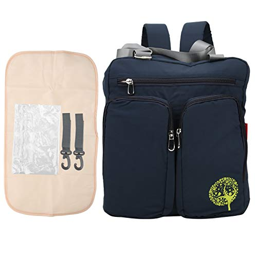 Mochila de hombro para mamá, multifuncional impermeable bolsa de almacenamiento de pañales bolsa colgante para cochecito portátil con almohadilla para orina y 2 ganchos(Navy Blue)