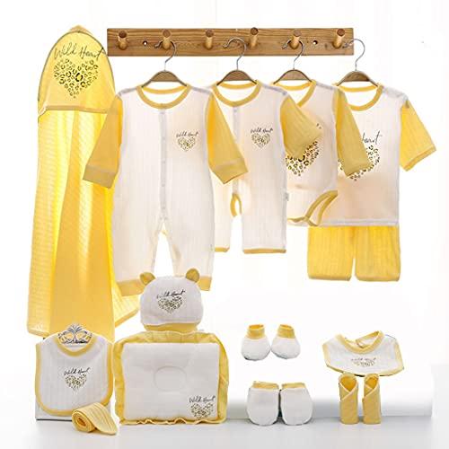 shiftX4 Set de regalo para recién nacidos – 17 piezas, 100% algodón suave, pantalones cortos, babero, sombrero, tops de manga corta, pañuelo, guantes, calcetines, pelele – 0-3 meses