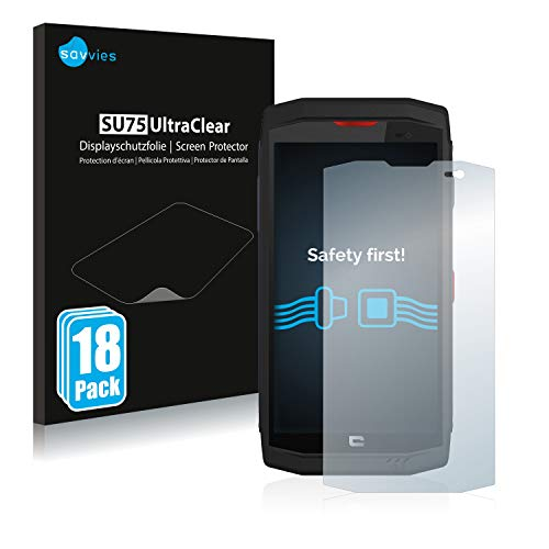 Savvies 18x Schutzfolie kompatibel mit Crosscall Trekker X3 Bildschirmschutz-Folie Ultra-transparent