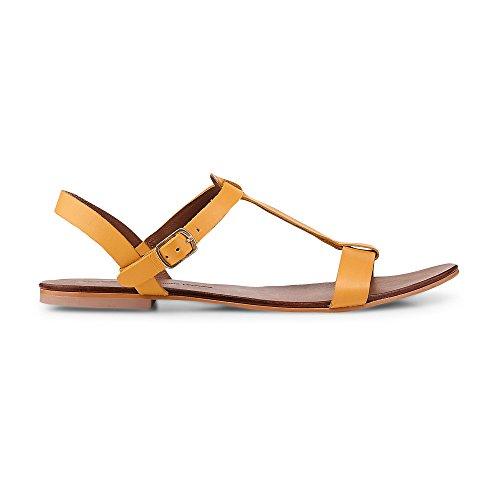Cox Damen Sommer-Sandalen aus Leder, Flache Riemchen-Sandaletten in Gelb mit Schnallen-Verschluss Gelb Leder 39