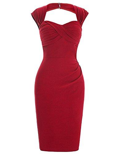 Belle Poque Retros Vestidos para Mujeres Esbelto Lápiz Vestido Color Rojo Talla 4 BP155-1