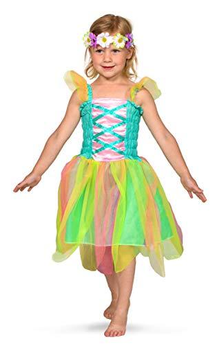Vestito da fatina di primavera per bambine con corona di fiori - taglia M - 116-134
