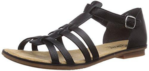 Rieker Damen Sandalen 64288, Frauen Riemchensandale, Freizeit römer-Sandale Sandalette Gladiatoren-Sandale sommerschuh,schwarz / 01,38 EU / 5 UK