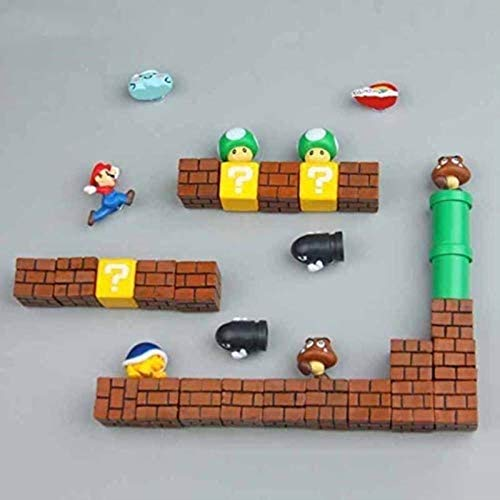 LM-PNEG 63pcs 3D Super Mario Bros. Fridge Magnets Refrigerator Message Sticker Funny Girls Boys Kids Children Student Toys Birthday Gift,14 Combinations-34 Combinations