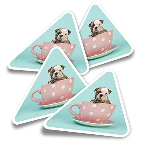 Pegatinas triangulares de vinilo (juego de 4) – English Bulldog Teacup Dog Puppy Fun Calcomanías para portátiles, tabletas, equipaje, reserva de chatarra, nevera #21499