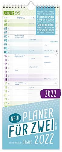 Planer für Zwei 2022 Paarkalender mit 3 Spalten | Wandkalender für 12 Monate: Jan - Dez 2022 | Paarplaner Wandplaner, Chäff-Timer inkl. Ferientermine | nachhaltig & klimaneutral