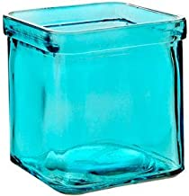 Bluecorn Beeswax 50% Recycled Glass Square Candle Holder (2.75-Inch x 3.25-Inch Tall) (1, Aqua)