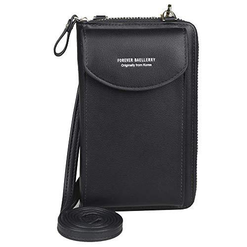 Ecosway Geldbörse für Damen, große Kartenfächer, Handtasche, einfarbig, diagonale Tasche, Multifunktions-Clutch mit Reißverschlusstasche, Schwarz (Schwarz) - EB020200506A