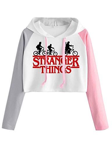 Sudadera Stranger Things Niña, Sudadera Stranger Things 3 Mujer Corta T-Shirt Camisetas de Manga Larga con Capucha Chicas Impresión Cortita Deportivo Casual Sweatshirt (S,24)