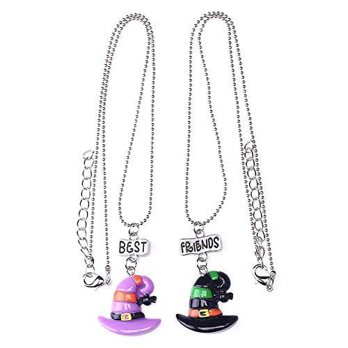 Onsinic 1 Set Necklace Witch Hat Head Pendant Choker para Mejores Amigos Unisex Decoración Halloween