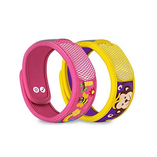 PARA'KITO Mosquito Repellent Pack - 2 Kids Wristbands & 2 Refills (Honey Bee + Monkey)
