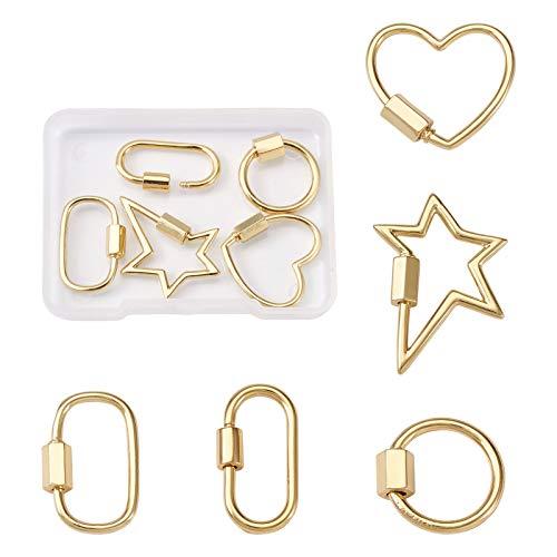 5 unids/caja real chapado en oro de 18 quilates con cierre de tornillo mosquetón de 5 estilos, cierre de llavero, cierre de cierre, encanto de 14 ~ 24 mm para collares de bricolaje, pulseras, llaveros