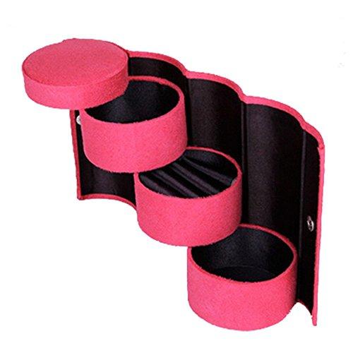 Vococal® Boîte à Bijoux Mallette/Coffrets/Boîte à Maquillage, Bijoux et Cosmétiquem,Rose Rouge
