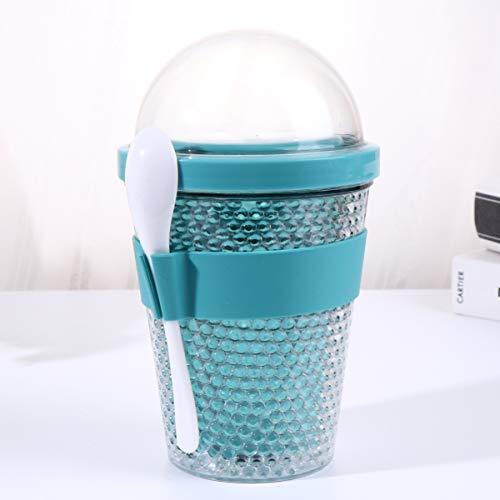 Cabilock 360 Ml Riutilizzabile Doppio Strato Tazza di Yogurt Tazza di Latte Tazza Portatile Tazza di Latte di Grande Capacità Tazza con Coperchio E Cucchiaio (Colore Casuale)