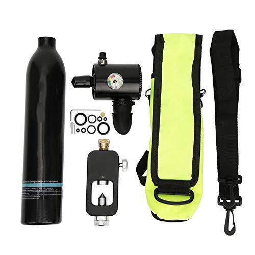 Caredy Tauchflaschen-Ausrüstung, 0,5 l Mini-Tauchflaschen-Schnorchel-Sauerstofftank mit 5-10-minütiger Druck- und Korrosionsbeständigkeit(Black)