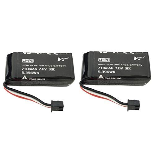 Jasinto 2PCS 7.6 V 710 mAh Upgrade Lithiumbatterie, Wiederaufladbarer Lipo Akku mit Stecker, RC Fernbedienung Batterien, Lipo Batterie Ersatzteil kompatibel mit Bewaffnete H122D-Drohne