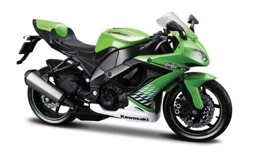 Maisto Kawasaki Ninja ZX-10R: Originalgetreues Motorradmodel, Maßstab 1:12, mit Federung und ausklappbarem Seitenständer, grün (531187)