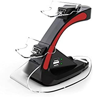 TekBotic TEK Series PS4 Controller Charging Station- Playstation 4 Charging Station with Dual LED Indicator Lights + Two Additional USB Ports on the PS4 Charger Stand (Suitable for PS4 Charging Station 4 Controllers, Red) by TekBotic [並行輸入品]