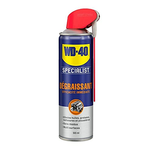 WD-40 Specialist • Dégraissant • Spray Double Position • Efficacité Immédiate • Sans résidu • Dissout graisse, huiles et salissures diverses • 500 ML