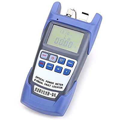 Portable ALL-IN-ONE Fiber Optical Power Meter -70 to +10dbm with SC and FC Connector and 10mW 10KM Visual Fault Locator Fiber Optic Cable Tester