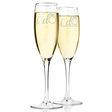 I Do and I Do Whatever She Says Champagne Toasting Flute Glasses, Set of 2