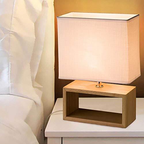 Bakaji Lampada da Tavolo Lume da Comodino Design Moderno Luce Lampadina E14 Max 60W con Base in Legno Rettangolare e Campana in Tessuto Bianco Abat-jour Dimensioni: 21,5 x 11 x 31 cm