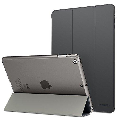 MoKo Funda para iPad Air - Ultra Slim Lightweight Función de Soporte Protectora Plegable Smart Cover Trasera Transparente Durable - Gris Espacial (No es Compatible con el iPad Air 2)