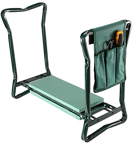 SKYWPOJU Asiento para rodillas de jardín con 2 bolsas de herramientas Silla de rodillas para jardín Taburetes de banco plegables Rodillero portátil para jardinería y bolsa de asiento Almohadilla de es