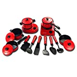 Ruby569y Juego de juguetes de pretender, 13 piezas de utensilios de cocina para niños, para casa, para cocina, sartenes, platos de comida - rojo