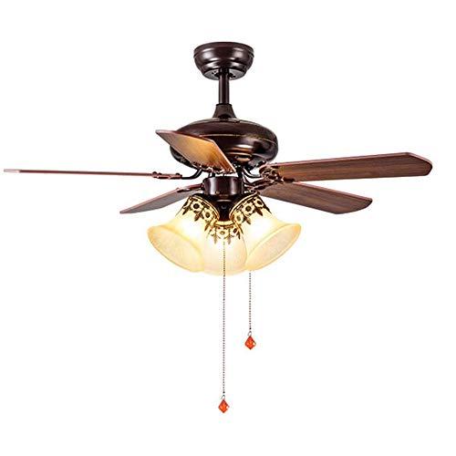 Retro Vintage Deckenventilatoren mit Beleuchtung, Ventilator mit Fernbedienung Wendeflügeln Massivholz, E27 42'' Deckenleuchte Leise Ventilator Pendelleuchte mit Zugschnur Schalter Schlafzimmer Lampe