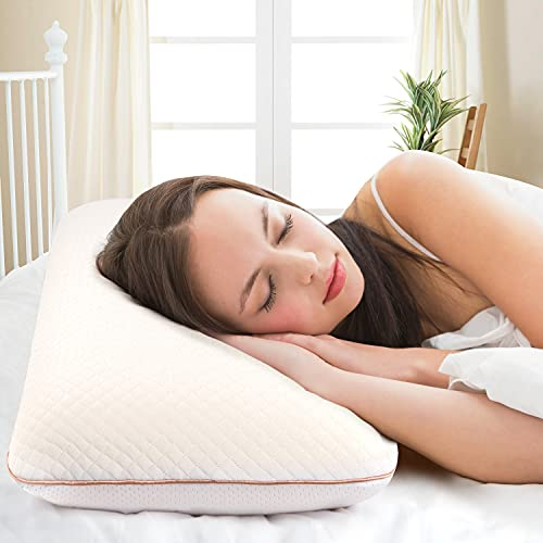 Almohada para dormir de espuma con memoria 70 x 40 cm almohada ajustable en altura con cremallera, almohada de apoyo para la columna cervical, almohada ortopédica para dormir contra el dolor de cuello