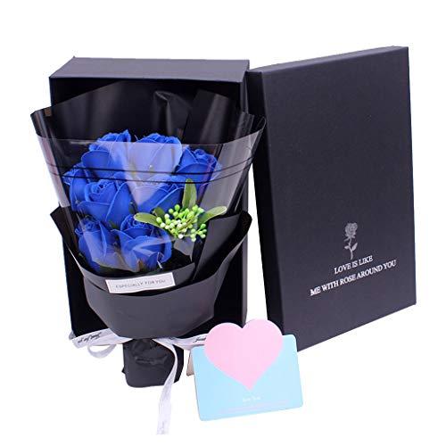 Amycute - Ramo de rosas artificiales con caja de regalo, ramo de flores de jabón, regalo para San Valentín, aniversario, boda, Navidad, decoración del hogar