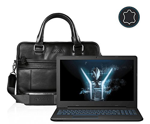 Leder Laptoptasche für Damen/Herren passend für Medion ERAZER P6679   Schwarz
