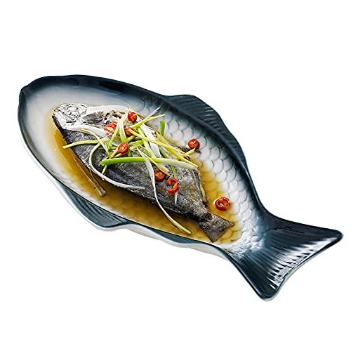 Cerámica Vajilla Plato de Pescado al Vapor, Creativa Bandeja de Bocadillos Plato para Servir Comida para Casa Restaurante,Gris,Small