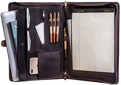 Gavarnie Genuine Leather Business Portfolio Padfolio Folder with Zipper for Men Men s Leather product image