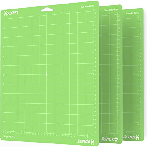 Xinart StandardGrip Cutting Mat for Cricut Maker/Explore Air 2/Air/One(12x12 Inch, 3 Mats) Standard Adhesive Sticky Green Quilting Cricket Cutting Mats Replacement Accessories for Cricut