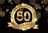 AOFOTO 6x4ft Happy 50th Anniversary Backdrop Gold Glitter Halo Dots Fift ieth Anniversaries Celebration Decor Golden Wedding Background for Photography Vinyl Photo Studio Props